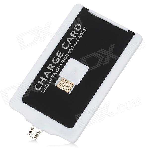 Portable USB Male to Micro USB Male Charging & Sync Cable Card - White + Black