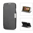 Protective Leather Flip-Open Case w/ Card Slot for Samsung Galaxy S4 / i9500 - Black