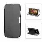 Protective Leather + Plastic Flip-open Case w/ Stand for Samsung S4 9500 - Black