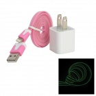 AC Charger + USB to 8-Pin Lightning Data/Charging Glow-in-the-Dark Cable for iPhone 5 - Pink