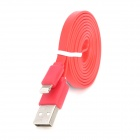 USB-zu-8-Pin Blitz Data / Laden Flachkabel für iPhone 5 / iPad 4 / Mini / iPod Touch 5 - Rot