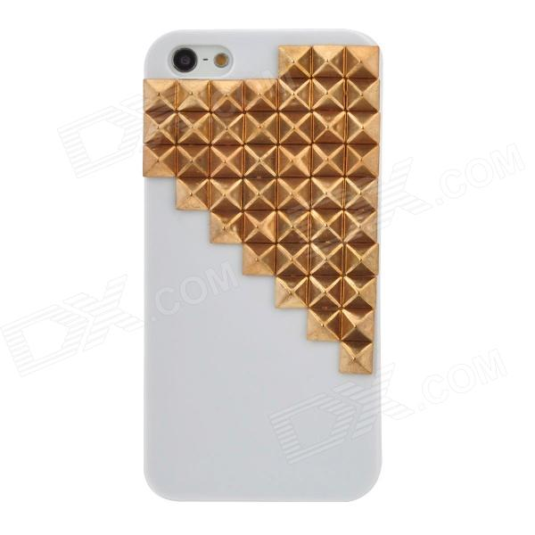Grid Pattern Protective Plastic Back Case for Iphone 5 - White + Golden nillkin protective matte plastic back case w screen protector for iphone 6 4 7 golden