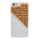 Grid Pattern Protective Plastic Back Case for Iphone 5 - White + Golden