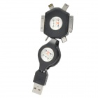 Schwarz (70cm) - Retractable USB 6-in-1 Daten / Ladekabel für iPhone / Samsung / HTC / Nokia Set