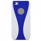 B004 Protective PVC Hard Back Case for Iphone 5 - Blue + White