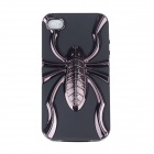 Electroplating Spider Pattern Protective PC + TPU Back Case for Iphone 4S - Black