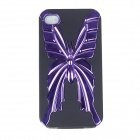 Electroplating Butterfly Pattern Protective PC + TPU Back Case for Iphone 4S - Purple + Black