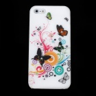 Butterfly Pattern Protective PVC Back Case for Iphone 5 - White