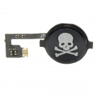 Skull Pattern Replacement Home Key + Flex Cable for Iphone 4 - Black + Silver