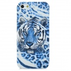 Tiger Pattern Protective Plastic Hard Back Case for Iphone 5 - White + Blue