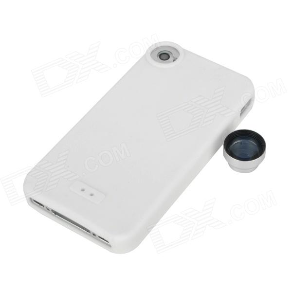 T-22W 2X Magnification Lens + Silicone Protective Case for Iphone 4S/4 - White