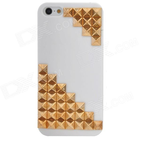 3D Rivets Style Protective Plastic Back Case for Iphone 5 - White + Golden nillkin protective matte plastic back case w screen protector for iphone 6 4 7 golden
