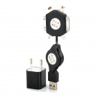 Multifunction Retractable USB Data Sync / Charging Cable + EU Plug Power Adapter - Black