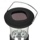 Solar Powered / Hand Cranked Dynamo 60000mcd 6-LED 2-Mode White Light Camping Lamp - Black + Silver