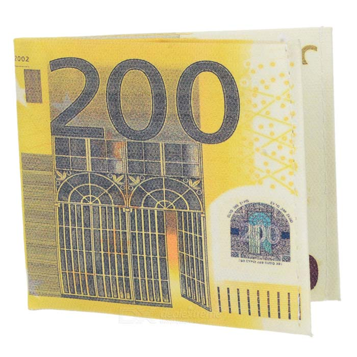 200 EU Bill Style Canvas Wallet - Yellow