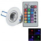 JR-3W-RGB-THD 3W 120lm RGB Light LED Ceiling Lamp w/ Remote - White + Silver (100~240V)