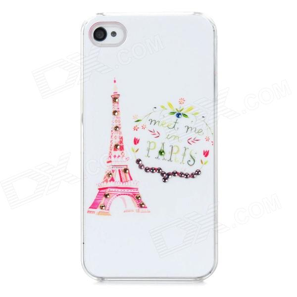 IPH-4 Protective Eiffel Tower Pattern Back Case w/ Crystal for Iphone 4 / 4S - White detectable 8x telescope w tripod back case for iphone 4 4s white silver black
