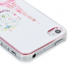 IPH-4 Protective Eiffel Tower Pattern Back Case w/ Crystal for Iphone 4 / 4S - White