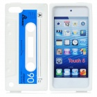 Protective Retro Tape Style Silicone Back Case for iPod Touch 5 - White + Blue