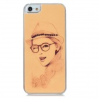 IPH-5 Protective Fashion Girl Pattern Back Case w/ Crystal for Iphone 5 - Light Orange