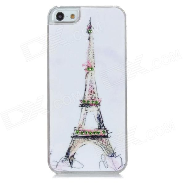 IPH-5 Protective Eiffel Tower Pattern Back Case w/ Crystal for Iphone 5 - White stylish protective pu leather case for iphone 5c white transparent black