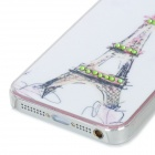 IPH-5 Protective Eiffel Tower Pattern Back Case w/ Crystal for Iphone 5 - White