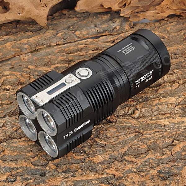 NiteCore TM26 0.7LCD 3500lm Multi-Mode Memory White Flashlight w/ 4 x Cree XM-L2 U2 (4 x 18650)18650 Flashlights<br>BrandNitecoreModelTM26Quantity1 DX.PCM.Model.AttributeModel.UnitForm  ColorBlackMaterialAluminum alloyOther FeaturesWaterproof,Rechargeable,Others,0.7 LCD display; Over-temperature protection; Built-in intelligent battery charging circuit; Powered by at least 1 x 18650 or 2 x CR123; 8-brightness mode; 2-switch buttons design; Power LED indicator in switch button; Double-side filmed scratch-resistant optical lens; PDOT metal reflector; Protect core element with stainless steel head; HA-III surfaceEmitter BrandCreeLED TypeXM-L2Emitter BINU2Number of Emitters4Color BINCold WhiteWorking Voltage   3.6~8.4 DX.PCM.Model.AttributeModel.UnitPower Supply4 x 18650 or 8 x CR123 (not included)Current5 DX.PCM.Model.AttributeModel.UnitActual Lumens4000 DX.PCM.Model.AttributeModel.UnitRuntime1000 DX.PCM.Model.AttributeModel.UnitNumber of Modes8Mode ArrangementOthers,Lower, Low, Mid, High, Strobe, Rapid Flashing, Location BeaconMode MemoryYesSwitch TypeReverse clickySwitch LocationSideLensGlassReflectorAluminum SmoothBeam Range454 DX.PCM.Model.AttributeModel.UnitStrap/ClipStrap includedOutput(lumens)1001 and aboveRuntime(hours)4.1 and abovePacking List1 x Flashlight1 x Power adapter (US plug / 100~240V / 100cm-cable)1 x Battery pouch1 x Carrying strap1 x Waterproof O ring1 x Power switch1 x Chinese / English user manual<br>