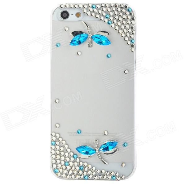 Dragonfly Style Protective Rhinestone + Plastic Back Case for Iphone 5 - Blue + Transparent White protective alloy horse decoration rhinestone studded back case for iphone 5 white transparent