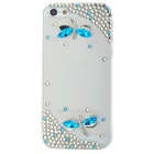 Dragonfly Style Protective Rhinestone + Plastic Back Case for iPhone 5 - Blue + Transparent White