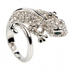 Gecko Style Stainless Steel Rhinestone Finger Ring - Silver