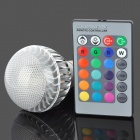 E27 3W White Light + 1W 180lm RGB-Licht LED Bulb w / Remote Controller (AC 85-265V)