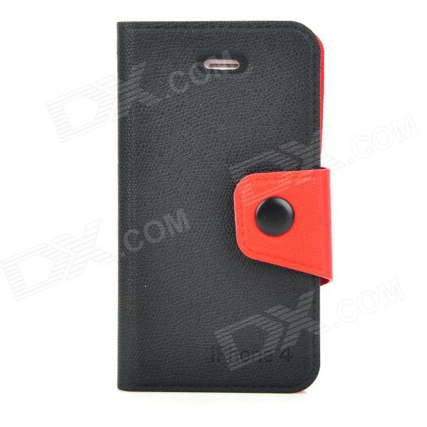 Protective PU Leather Case w/ Card Holder for Iphone 4 / Iphone 4S - Black + Red