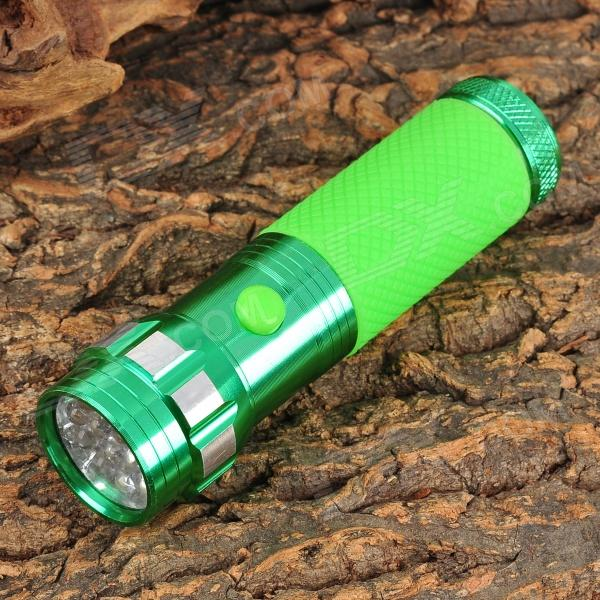 14-0 14-LED 30~50lm Cool White Fashionable Anti-Slip Flashlight - Green (3 x AAA)