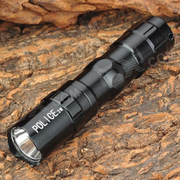 CJ-701B Portable LED White Flashlight w/ Strap - Black (1 x AA)
