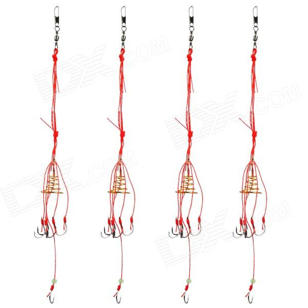 6-in-1 Sharp Spring Fishing Lures Swivel Hooks Tackle Fishhook - Golden + Red (4 PCS / Size 9)