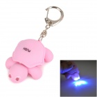 Turtle Style 2-LED Blue Light Keychain w/ Sound - Pink (3 x AG10)