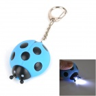 Ladybug Style LED White Light Keychain w/ Sound - Blue + Black (3 x AG10)