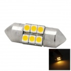 Festoon 27mm 0.9W 30lm 3000K 6 SMD 3528 Warm White Light Car LED Bulb - Silver + Yellow