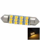 Festoon 41mm 1.8W 60lm 3000K 12-SMD 3528 Warm White Light Car LED Bulb - Silver + Yellow
