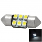 Festoon 31mm 0.9W 30lm 7000K 6-SMD 3528 White Light Car LED Bulb - Silver + Yellow
