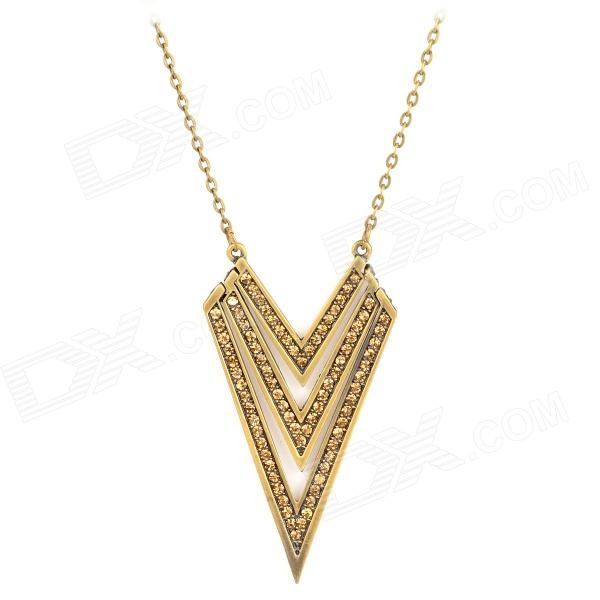 Triangle Style Albronze Rhinestone Necklace - Bronze gold triangle rhinestone pendant chain necklace for women