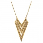 Triangle Style Albronze Rhinestone Necklace - Bronze