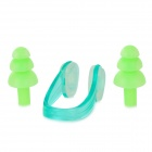 Swimming Silicone Ear Plugs + Plastic Nose Clip Set - Green