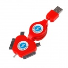 YiJia 5-in-1 USB 2.0 Data Charging Retractable Cable - Red