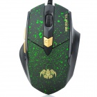 RAJOO G6 USB 2.0 Wired 800 / 1200 / 1600 / 2400dpi Optical Gaming Mouse - Green + Black