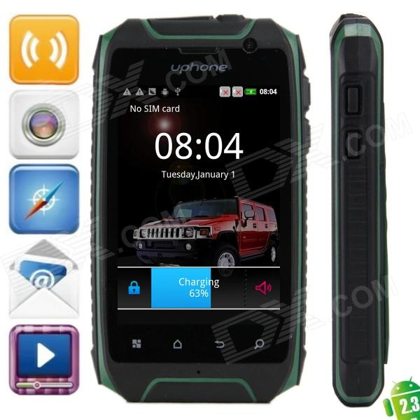 Uphone H1 Android 2 3 6 Ultra Rugged Gsm Phone W 5 Capacitive Dual Band And Wi Fi Green