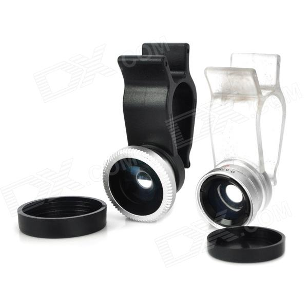 Multifunction 3-in-1 Fisheye + Wide Angle + Macro Lens for Iphone / Ipad + More - Black multifunction 3 in 1 fisheye wide angle macro lens for iphone ipad more black