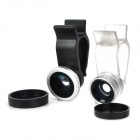 Multifunction 3-in-1 Fisheye + Wide Angle + Macro Lens for iPhone / iPad + More - Black