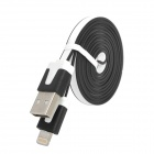 USB to 8-Pin Lightning Data / Charging Flat Cable for iPhone 5 - Black + White (100CM)