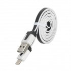 USB 2.0 auf 8pin Blitz Male Flachkabel für iPhone 5 - White + Black